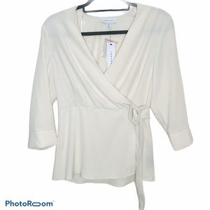 Topshop Cream Belted Wrap Top